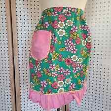 New listing Vintage Vera Neumann Floral 70s Half Apron Pink Green Pocket Ruffle Trim