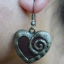 Pair Hook Dangle Drop Heart Earrings Studs Brown Bronze Womens Girls Jewellery
