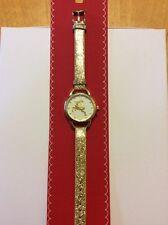 $24.50 Macy's Holiday Lane Women's Gold Tone Glitter Strap Watch 30mm L&T Bin
