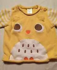 Gymboree Boys Owl Sweater Size 6-12 Months Yellow