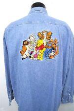 Disney Winnie The Pooh & Friends Eeyore Tigger thick denim shirt sz 2XL mens#055
