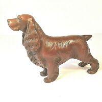 "METAL DOG FIGURINE XL SPRINGER? SPANIEL COLD CAST COPPER ZINC SHAVINGS 10"" L"