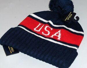 POLO RALPH LAUREN Men's Cuffed Pom Pom Beanie Hat, Ski Cap, USA, NAVY BLUE, nwt