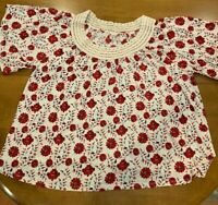 Lucky Brand Women's Top Size XL Red Floral Print with Crocheted Neckline ~ NEW