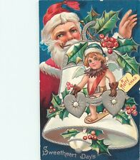 A MERRY XMAS - CHRISTMAS - SWEETHEART DAYS - SANTA - EMBOSSED POSTCARD