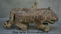 """9.4"""" Antique Chinese Bronze Ware Dynasty Zodiac Year Animal Tiger Beast Statue"""