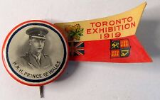 scarce 1919 H.R.H. PRINCE OF WALES TORONTO EXHIBITION pinback button