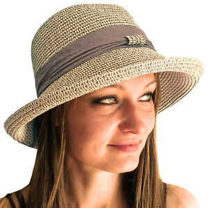 LADIES WOMENS ADJUSTABLE TRAVEL SUMMER SUN STRAW HAT FOLDABLE BRIM TRILBY BOWLER