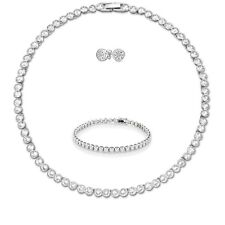 Tennis Necklace Earrings Silver Bridal Bracelet set Swarovski Elements Studs