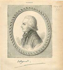 Charles-Maurice de Talleyrand-Périgord FRANCE GRAVURE ANTIQUE OLD PRINT 1873