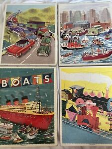 Playskool Vintage Tray Frame Puzzle Golden Press LOT OF 4 Transportation