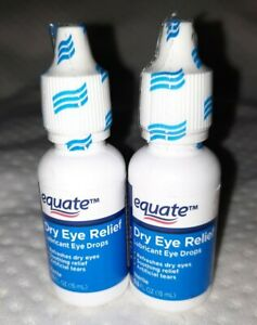 2X Equate Dry Eye Relief Lubricant Eye Drops 0.5 fl oz ea ~ New & Sealed