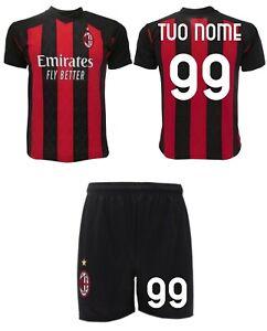 Completo Milan Personalizzato 2021 Maglia + Pantaloncini tuo nome numero Home