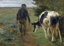 "1898- Max Liebermann, Farmer and Cow, antique decor, 14""x10"" Art Print"