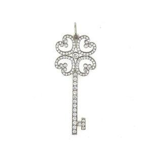 Tiffany & Co Keys Quatra Heart Key Pendant in Platinum with Diamonds