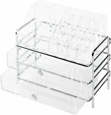 Cosmetic Storage Organizer, 16 Compartments and 2 Drawers, Clear, Richards Brand
