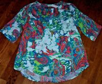 NWT Westbound Woman $49 ARTSY PAISLEY White/Teal/Coral HI-LOW Tunic Top Shirt XL