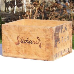 Ancienne caisse publicitaire d'épicerie en bois vide Chocolat Suchard