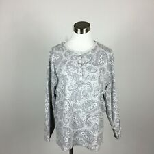 Studio Works XL Knit Top Gray Paisley  Wrist Length Button Henley Look