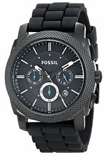 Fossil Men's Machine FS4487 Chronograph Black Dial Black Silicone Watch