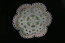 Large 3D White Lace SNOWFLAKE with Crystals on Pink Mylar Organza, Card, Gift