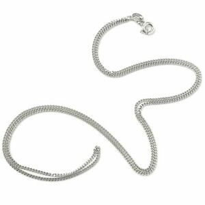 9ct White Gold Fine Chain Curb Style 20 Inches Hallmarked 3g 1.2mm