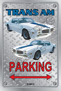 Parking Sign Metal - Checkerplate Look - TRANS AM 1972 WHITE
