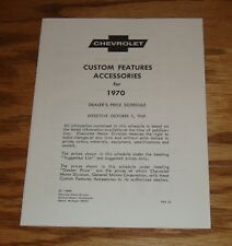 1970 Chevrolet Custom Features Accessories Price List Sales Brochure 70 Chevy