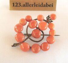 Jugendstil Koralle Brosche Korallen Saatperlen Blüte Perlen old coral / AR 115