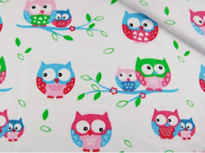 Owls on white cotton woven fabric, '64' wide, 135 gsm, sold by 1/2 and 1m