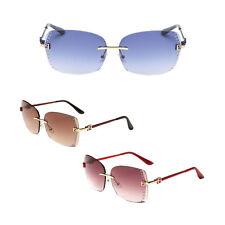 UK Rimless eyeglasses gradual Lens eyeglasses Inlaid Crystal Female Sunglasses