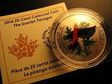 Canada 2014 Scarlet Tanager Coloured Bird Series Coin With COA No Box.