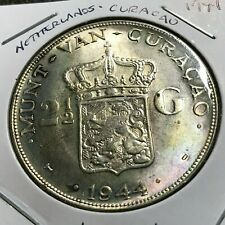 1944  NETHERLANDS  CURACAO SILVER 2 1/2 GULDEN BRILLIANT UNCIRCULATED CROWN