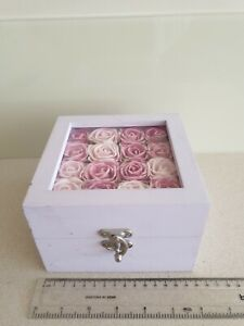 John Lewis Pink Lilac Box Keepsake Wooden Trinket Jewellery  Memory Chest Roses
