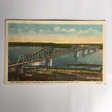 New Municipal Bridge Louisville Kentucky Jeffersonville Indiana 1942 Postcard