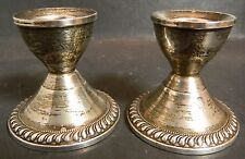 "Vintage Pair of Weighted Sterling Silver Candlesticks 2.43"" x 2.5"" Excellent"