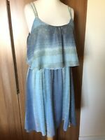 "M & S INDIGO Short Blue Chiffon Strappy Dress Sz 18 L37"" FESTIVAL Floaty BOHO B7"