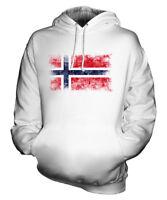 NORWAY DISTRESSED FLAG UNISEX HOODIE TOP NOREG NORWEGIAN NORGE  FOOTBALL