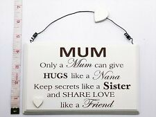 Only a Mum Wall Plaque Sign Christmas Gift Ideas for her & Mother & Mom & Mam