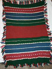"Crocheted Afghan 6' x 4' 8"" Crochet Throw Blanket Fringe Burgundy Green Blue"