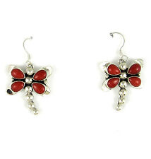 Red Coral Dragonfly Earrings by DARRIN LIVINGSTON