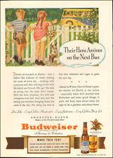1940 vintage beverage AD BUDWEISER BEER , Art Kids wait for Daddy  081717