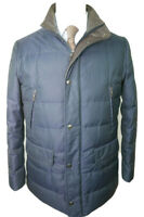 CORNELIANI RARE! DOWN PUFFER NEW! COAT LEATHER TRIM, WOOL LINED 38 UK 48 EU
