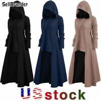 Women Hooded Gothic Long Dress Autumn Winter Long Sleeve Elastic Bottoming Shirt