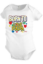 BORN TO LOVE PAPA Infant Baby one-piece Snapsuit Girl Boy Funny KP106