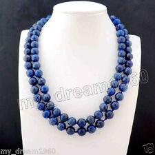 36'' Long Genuine Natural 8mm Lapis Lazuli Round Gemstone Beads Necklace AAA