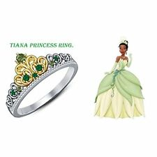 Tiana Disney Princess Ring Round Cut Multi-Stone 14K Two-Tone Gold Plated