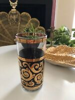 CULVER DRINKING GLASS Gold Black Vintage Collectible