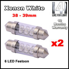 2x Blanco Interior Luz De Cortesía Led [ F5, C5w,38 Mm Festoon ] actualización Bombilla Ace2
