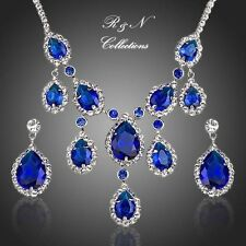 Platinum Plated Sapphire Cubic Zirconia Pendant Necklace & Earrings Set S440-26